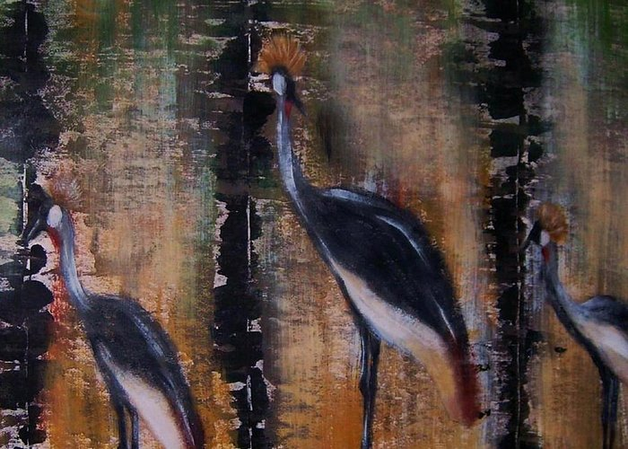 Nature Greeting Card featuring the painting Crowned cranes by Joseph Ferguson