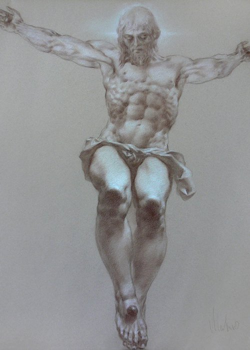 Symbolism Greeting Card featuring the drawing Crucifixion by Valeriy Mavlo