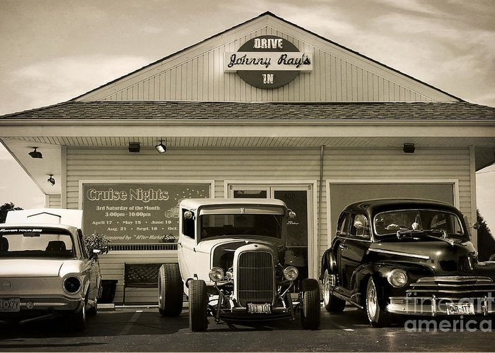 Streetrod Greeting Card featuring the photograph Cruise Night At Johnny Ray's by Dennis Hedberg