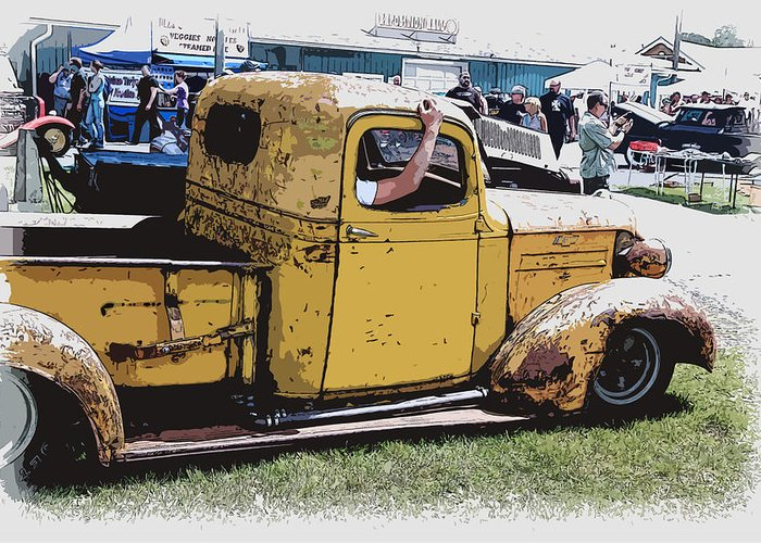 Hot Rod Greeting Card featuring the photograph Cruising The Old Chevy by Steve McKinzie
