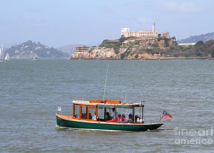 San Francisco Greeting Card featuring the photograph Cruizing The San Francisco Bay On The Pier 39 Boat Taxi With Alcatraz Island In The Distance.7d14322 by Wingsdomain Art and Photography
