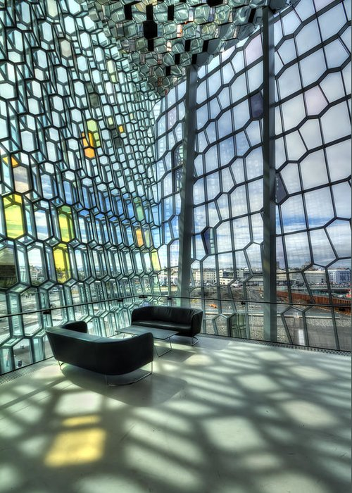 Harpa Greeting Card featuring the photograph Crystal Fantasy by Evelina Kremsdorf