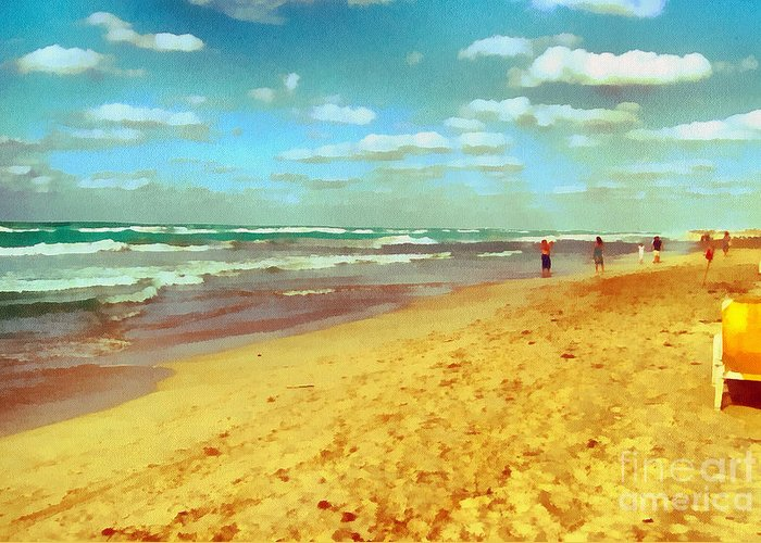 Odon Greeting Card featuring the painting Cuba Beach by Odon Czintos