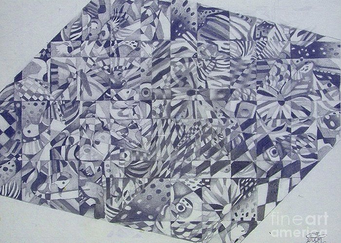 Cubism Greeting Card featuring the drawing Cubed Butterflies by Annette Jimerson