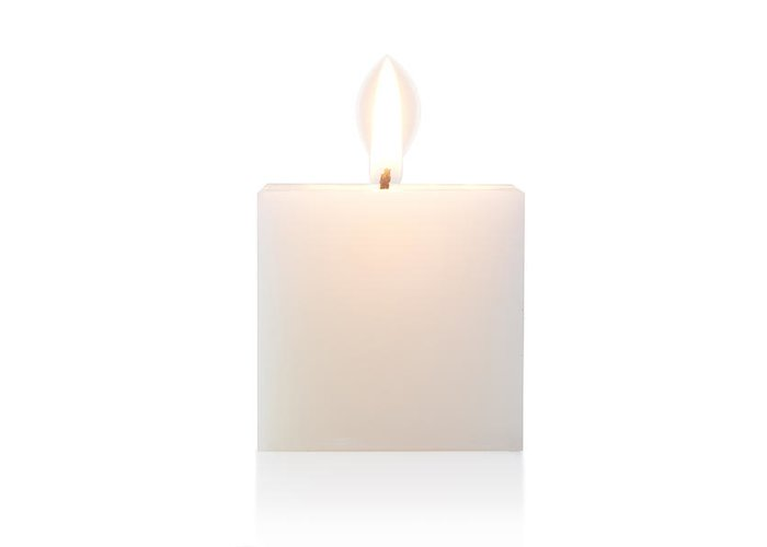 Candle Greeting Card featuring the photograph Cubic Burning Candle by Atiketta Sangasaeng