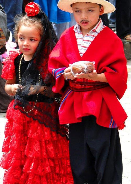 Al Bourassa Greeting Card featuring the photograph Cuenca Kids 78 by Al Bourassa