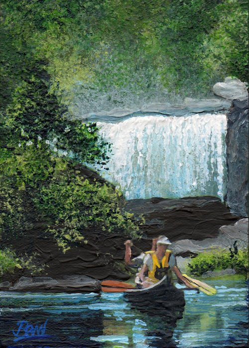 Acrylic Greeting Card featuring the painting Cumberland Falls by Bill Brown