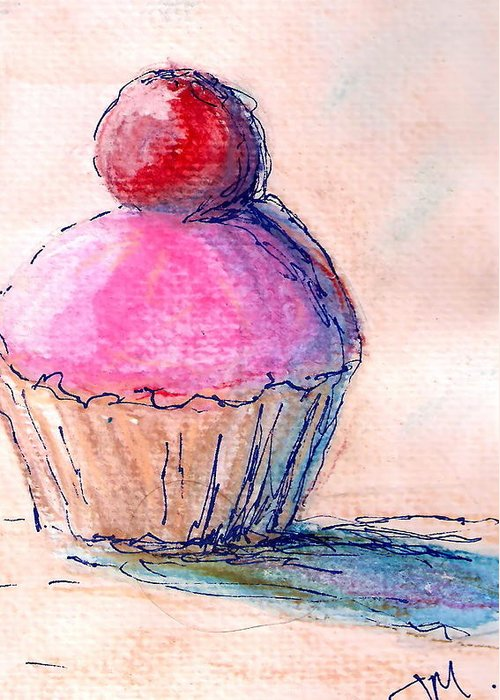 Cupcake Greeting Card featuring the painting Cupcake by Jacqui Mckinnon