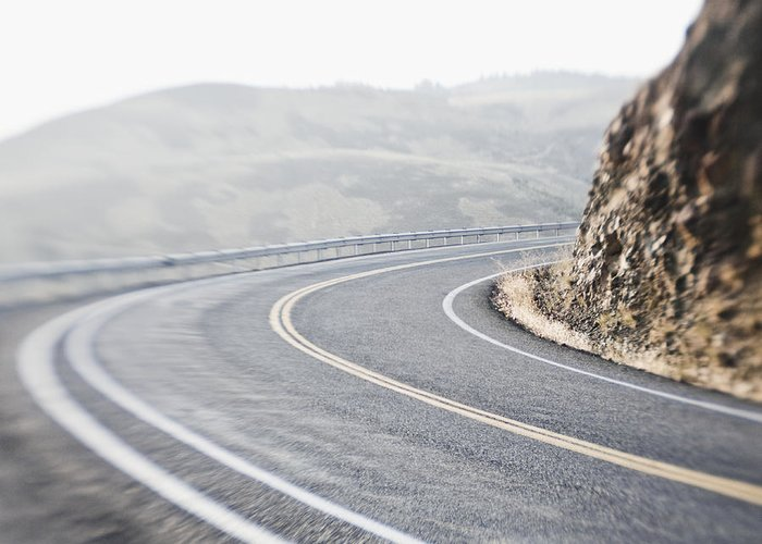 Asphalt Greeting Card featuring the photograph Curving Two Lane Road by Jetta Productions, Inc