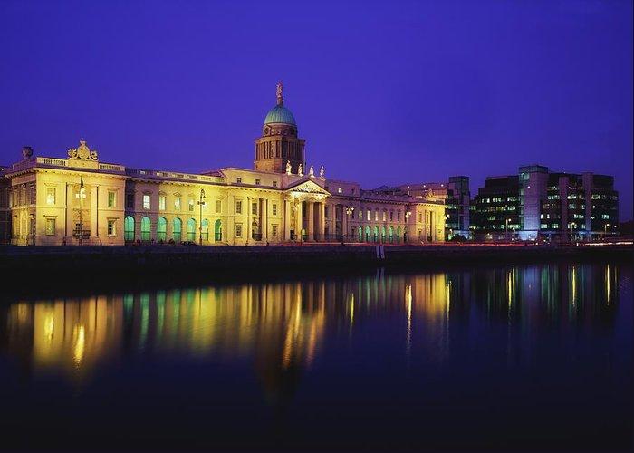 Blue Sky Greeting Card featuring the photograph Custom House, Dublin, Co Dublin by The Irish Image Collection