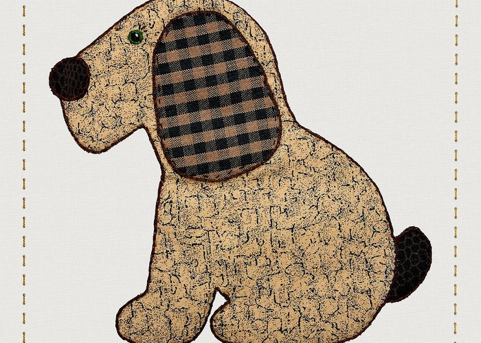 Dog Greeting Card featuring the digital art Cute Country Style Gingham Dog by Tracie Kaska