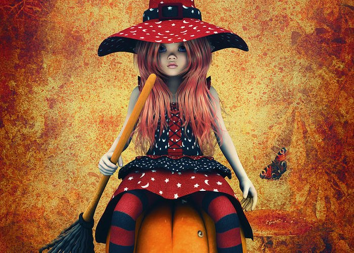 3d Greeting Card featuring the digital art Cutest Little Witch by Jutta Maria Pusl