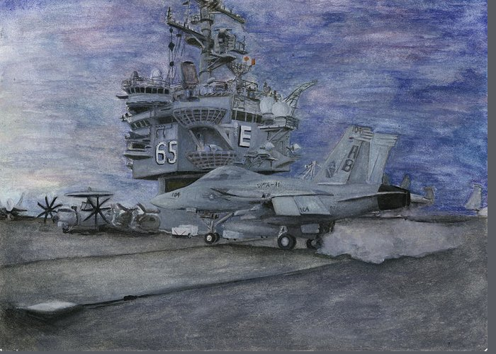 Navy Greeting Card featuring the painting Cvn 65 Uss Enterprise by Sarah Howland-Ludwig