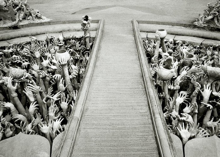 B&w Greeting Card featuring the photograph Cycle Of Rebirth At Wat Rong Khun In Thailand by Shaun Higson