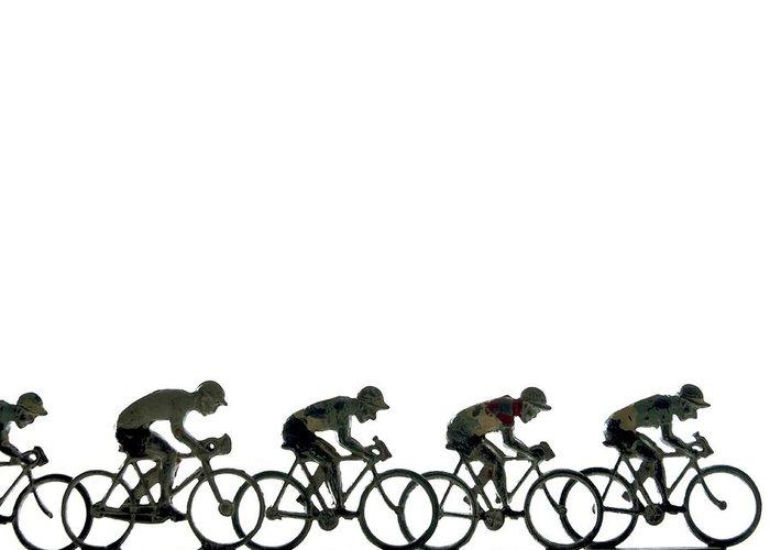 Align Greeting Card featuring the photograph Cyclists by Bernard Jaubert