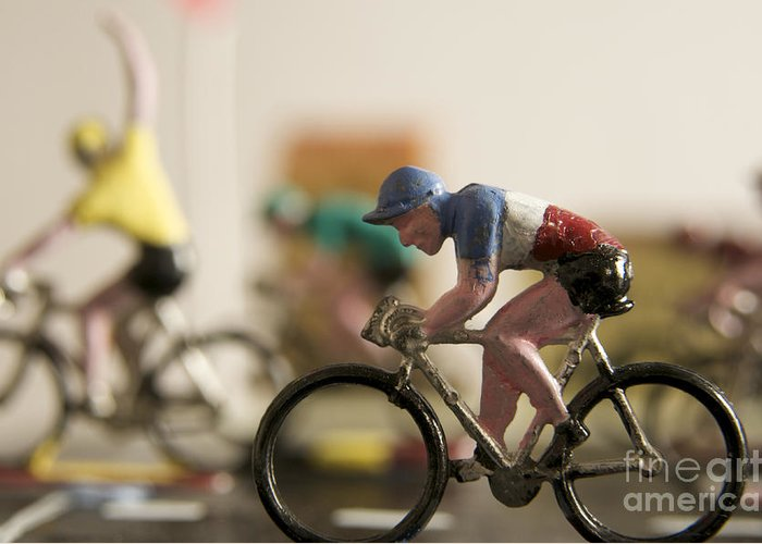 Tour Greeting Card featuring the photograph Cyclists. Figurines. Symbolic Image Tour De France by Bernard Jaubert