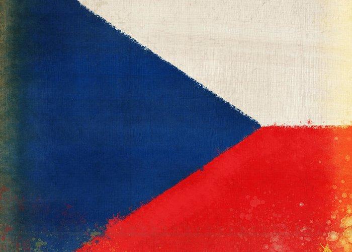 Chalk Greeting Card featuring the photograph Czech Republic Flag by Setsiri Silapasuwanchai