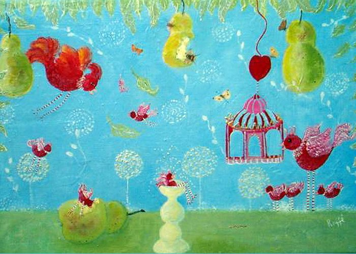 Birds Flitting About In The Garden Greeting Card featuring the painting Daddy's Home by Jo Roffe
