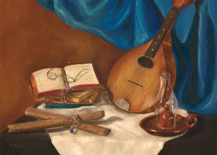 Mandolin Greeting Card featuring the pastel Dad's Mandolin by Kathy Wood