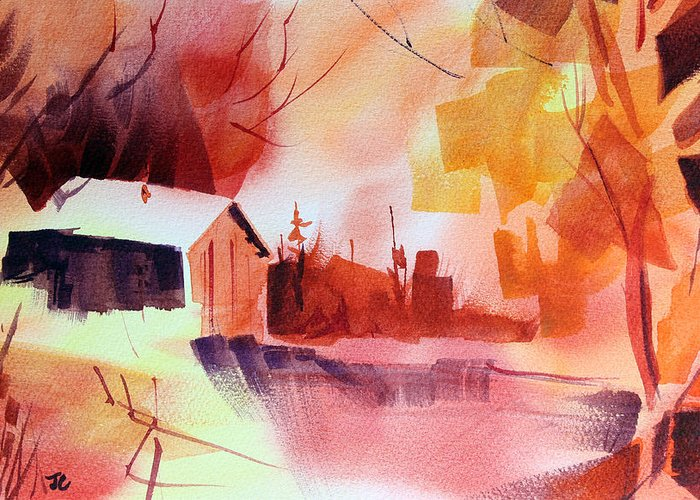 Abstract Landscape Greeting Card featuring the painting Dagmar's Farm No. 1 by Josh Chilton
