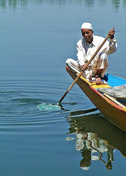 Dal Lake Greeting Card featuring the photograph Dal Lake Boatman by David Rich