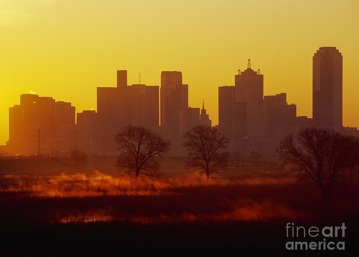 Architecture Greeting Card featuring the photograph Dallas Skyline At Sunrise by Jeremy Woodhouse