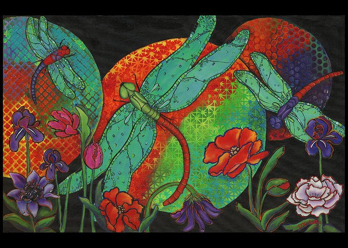 Dragonfly Art Greeting Card featuring the painting Dance At Dusk by Debbie McCulley