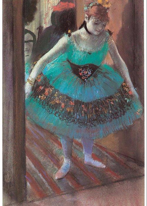 Dancer Leaving Her Dressing Room Greeting Card featuring the painting Dancer Leaving Her Dressing Room by Edgar Degas