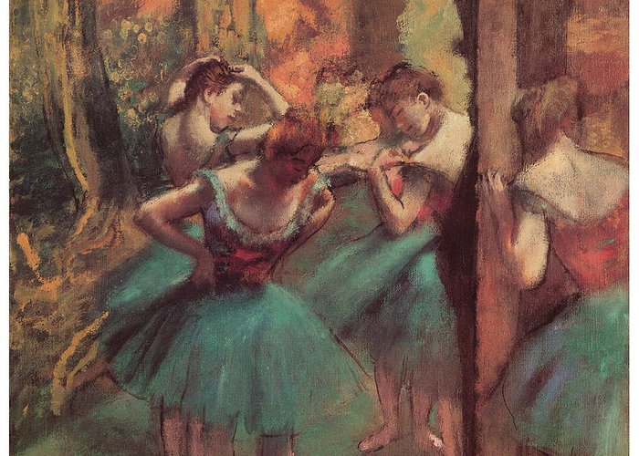 Dancers Pink And Green Greeting Card featuring the pastel Dancers Pink And Green by Edgar Degas