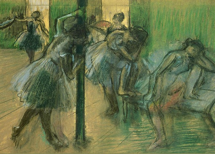 Dancers Rehearsing Greeting Card featuring the painting Dancers Rehearsing by Edgar Degas
