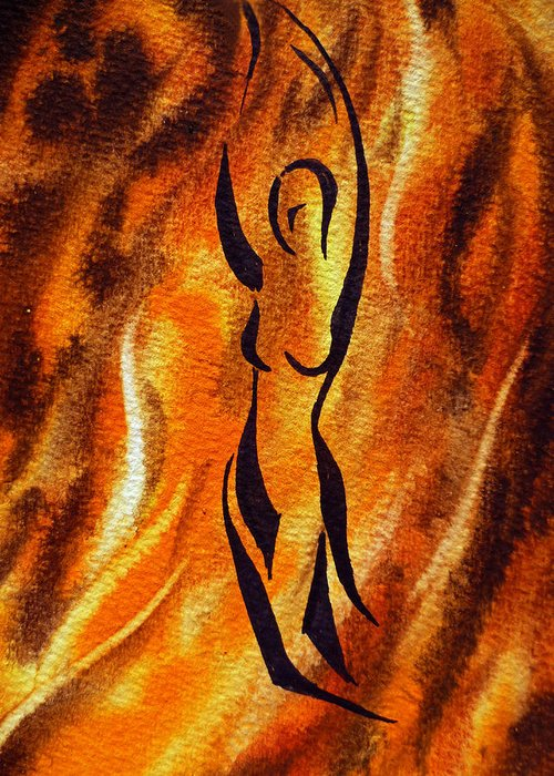 Abstract Greeting Card featuring the painting Dancing Fire V by Irina Sztukowski