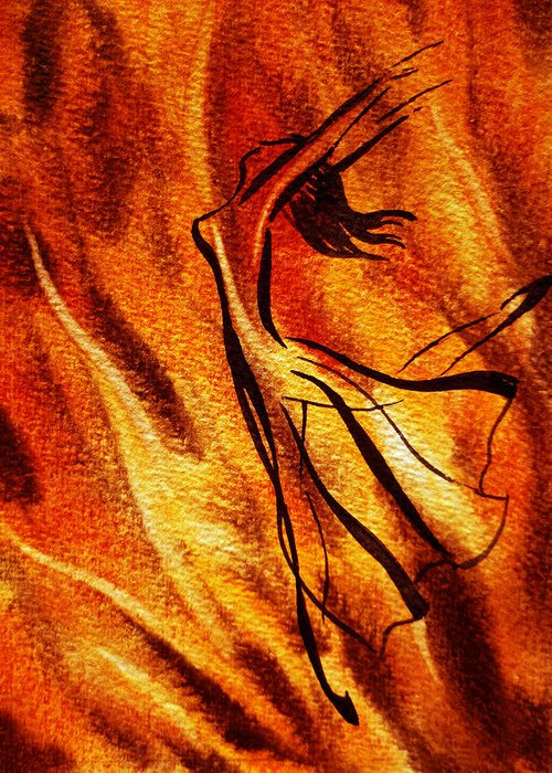 Abstract Greeting Card featuring the painting Dancing Fire Vi by Irina Sztukowski
