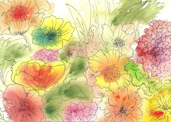 Watercolor Greeting Card featuring the painting Dancing Flowers by Christine Crawford