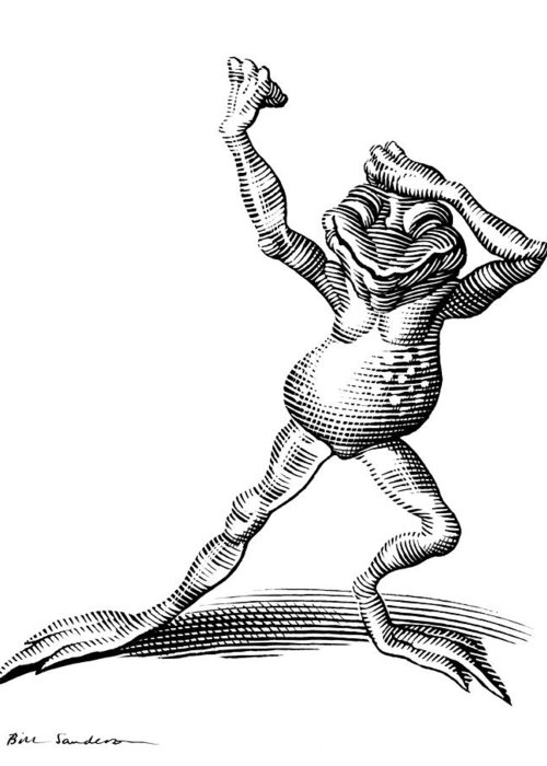 Common Frog Greeting Card featuring the photograph Dancing Frog, Conceptual Artwork by Bill Sanderson