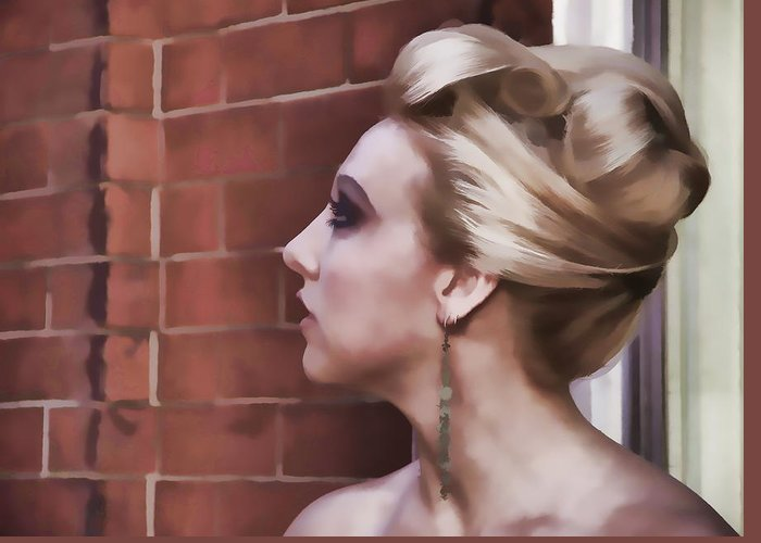 Woman Lady Beauty Classic Portrait Updo Blonde Greeting Card featuring the photograph Dangling Earring by Alice Gipson