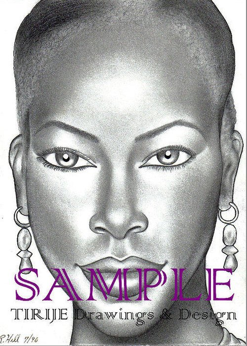 Portraits Greeting Card featuring the drawing Dark And Lovely by Rick Hill