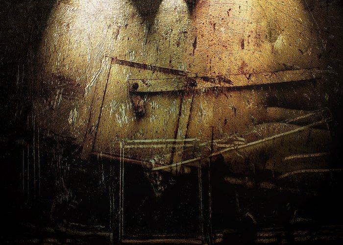 Metal Greeting Card featuring the digital art Dark Door by Janet Kearns