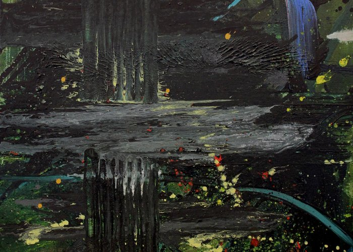Space Greeting Card featuring the painting Dark Space by Ethel Vrana