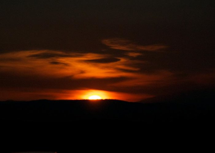 Sunset Greeting Card featuring the photograph Dark Sun by Kevin Bone