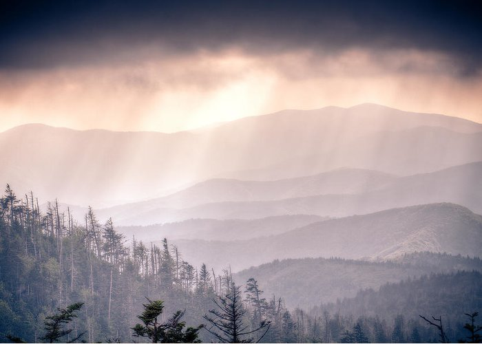 Great Smokey Mountains Greeting Card featuring the photograph Dark Vista Over The Smokys by Pixel Perfect by Michael Moore
