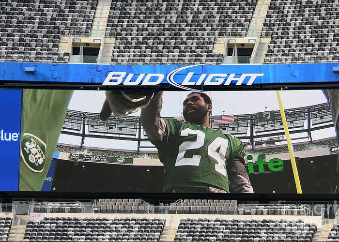 Darrelle Revis Greeting Card featuring the photograph Darrelle Revis - Ny Jets by Paul Ward