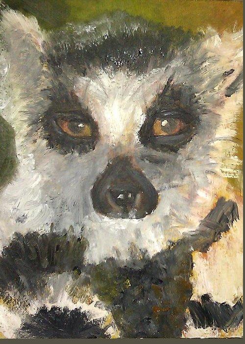 Lemur Greeting Card featuring the painting Darth Lemur by Jessmyne Stephenson