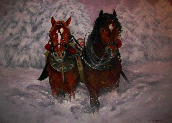 Christmas Greeting Card featuring the painting Dashing Through The Snow by Richard Klingbeil