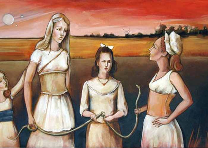 Eve Greeting Card featuring the painting Daughter's Of Eve by Jacque Hudson