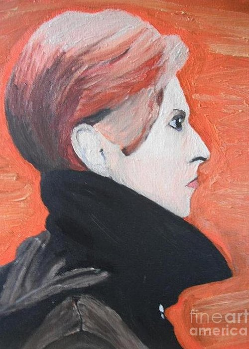 David Bowie Greeting Card featuring the painting David Bowie by Jeannie Atwater Jordan Allen