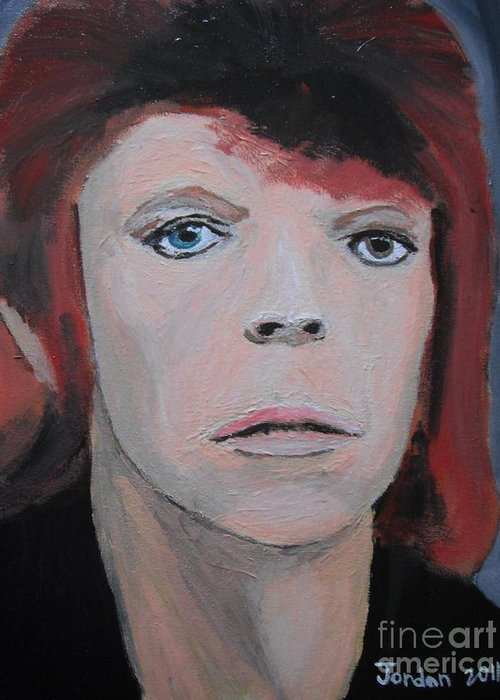 Art Greeting Card featuring the painting David Bowie The Early Years by Jeannie Atwater Jordan Allen
