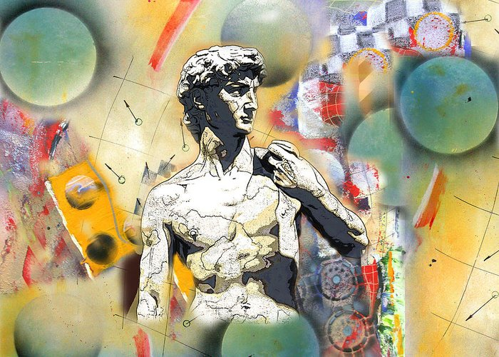 Art Greeting Card featuring the digital art David In Space-time by David Deak