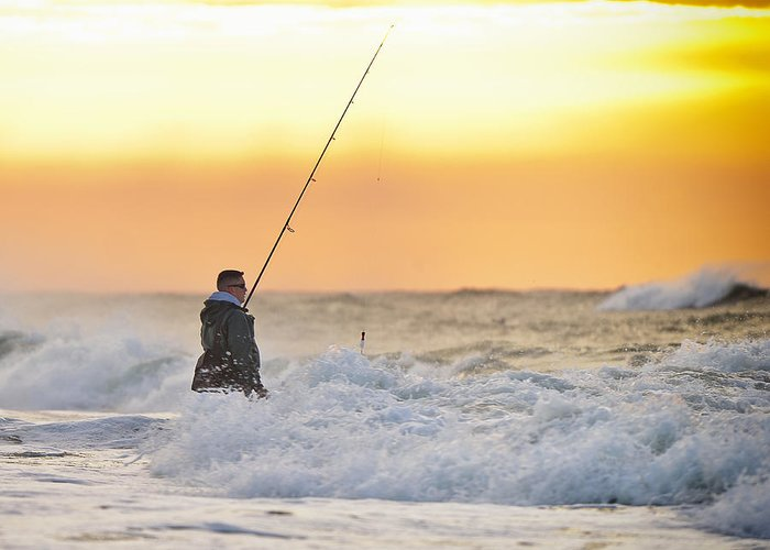 Fisherman Greeting Card featuring the photograph Dawn Fishing by Vicki Jauron