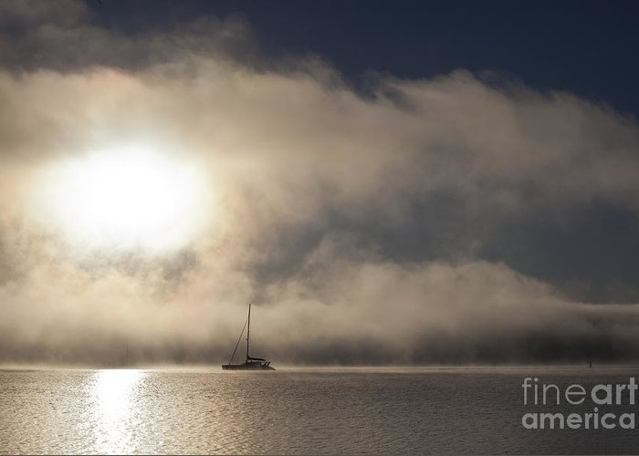 Yacht In Mist Greeting Card featuring the photograph Dawn mist by Sheila Smart Fine Art Photography