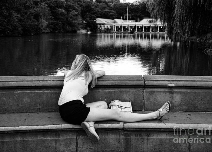 Black And White Greeting Card featuring the photograph Day Dreamer by Paul Ward